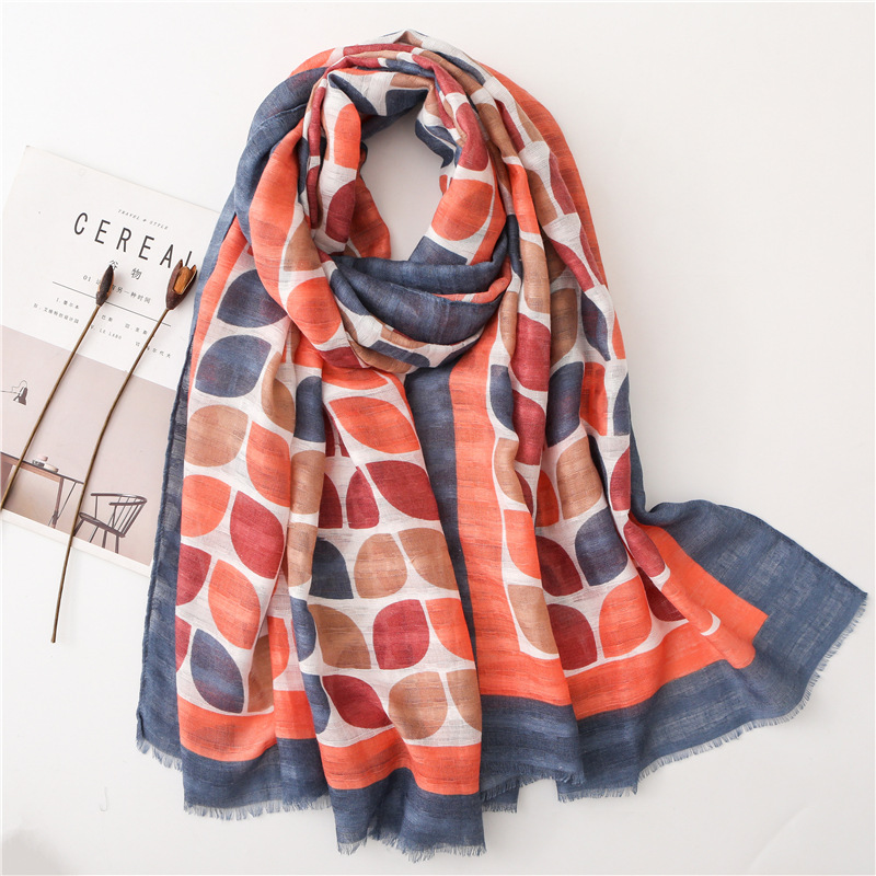 2020 New Style Colorful Leaves Cotton Hemp Scarf Korean Style Version Spring And Autumn Women's Print Long Beach Sunscreen Shawl