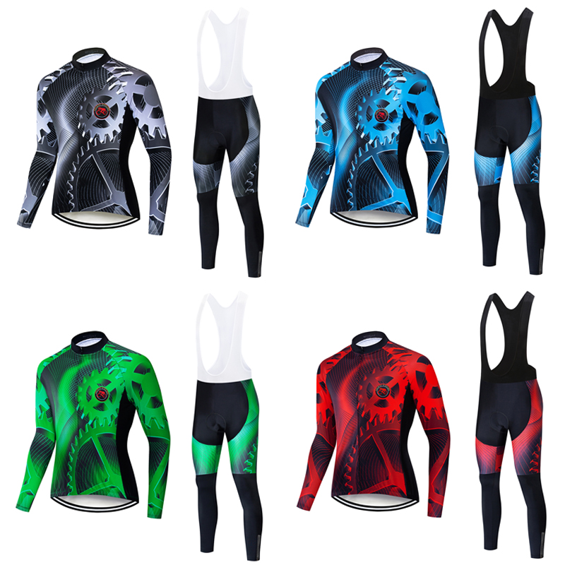 Details about  /2021 Men Cycling Jersey Bib Pants Set Long Sleeve Sports Uniform Bicycle Outfits