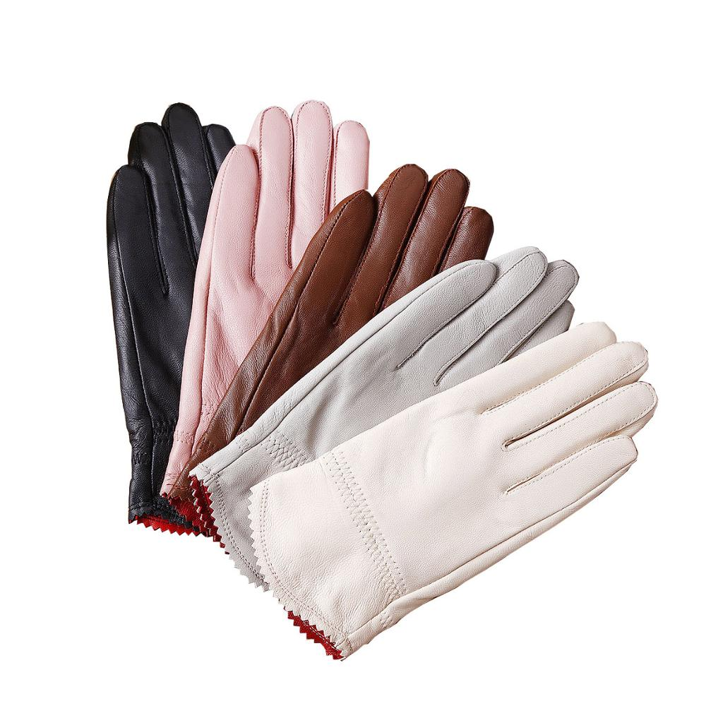 2019 Genuine Leather Gloves Winter Women's Thick Sheepskin Gloves Women Thermal Gloves