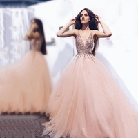 Eightree Luxury A line Arabic Prom Dresses V neck Tulle Beaded Sequins Special Occasion Dresses Middle East Formal Evening Dress