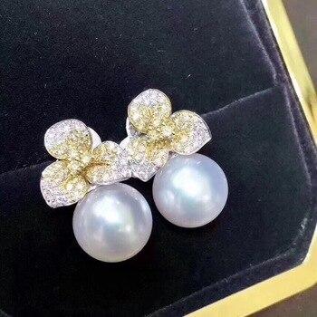 Pure 925 Sterling Silver Fine Jewelry Fresh Water White 8-9mm Round Pearl Dangle Earrings for Women Fine Pearl Earrings