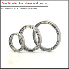 10Pcs/set  6700 6701 6702 6703 6704 6705 6706ZZ Double sided iron sheet seal Small diameter Thin wall deep groove ball bearing 30pcs lot f6900zz f6900 zz 10x22x6mm flange thin wall deep groove ball bearing