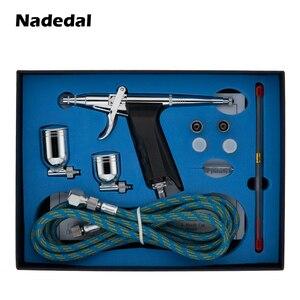 Image 2 - Распылитель краски Nasedal airbrush, Пистолет двойного действия со шлангом, 3 наконечника, 2 чашки для художественной живописи, тату, маникюрный спрей, модель ногтей