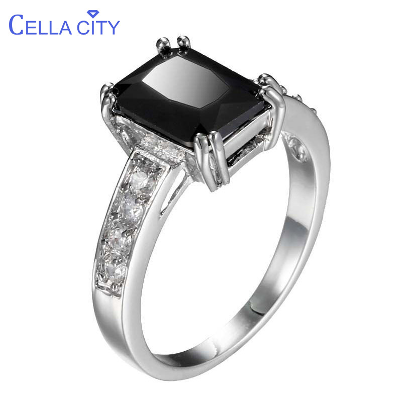 Cellacity Geometry Silver 925 Jewelry Trendy Ring For Women Rectangle Black Gemstones Female Party Accessory Size5-11 Wholesale