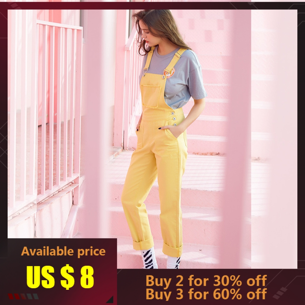 Metersbonwe Women Overalls Straps Jeans Female Basic Straight Yellow Denim Pants Button Stretch Rompers Jumpsuit Jeans