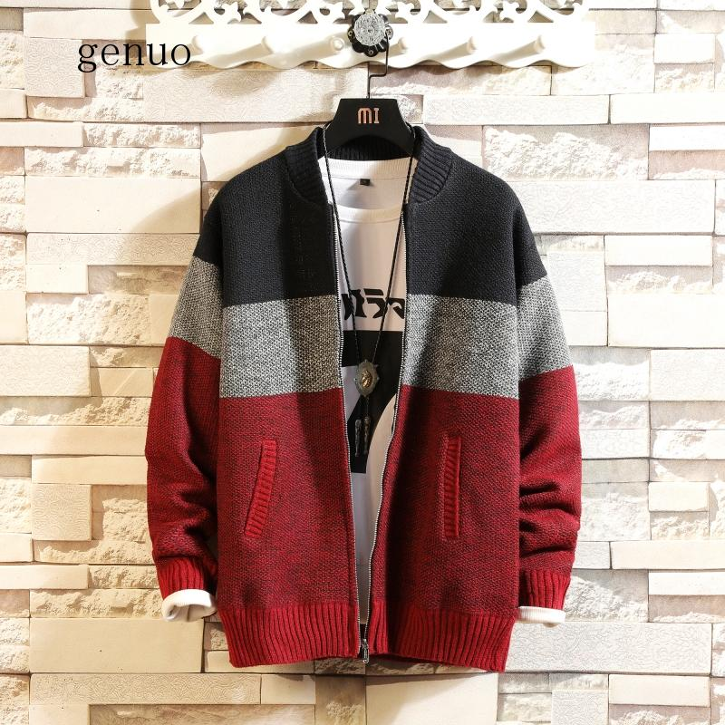 2020 Autumn And Winter Plus Velvet Thick Large Size S-XXXL Stitching Contrast Color Sweater Loose Jacket Stand Collar Cardigan