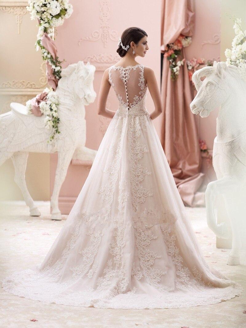 Vestido De Noiva Glamorous Lace Wedding Dress Ivory Bateau Neck Sleeveless A Line With Applique Belt Court Train Bridal Gown