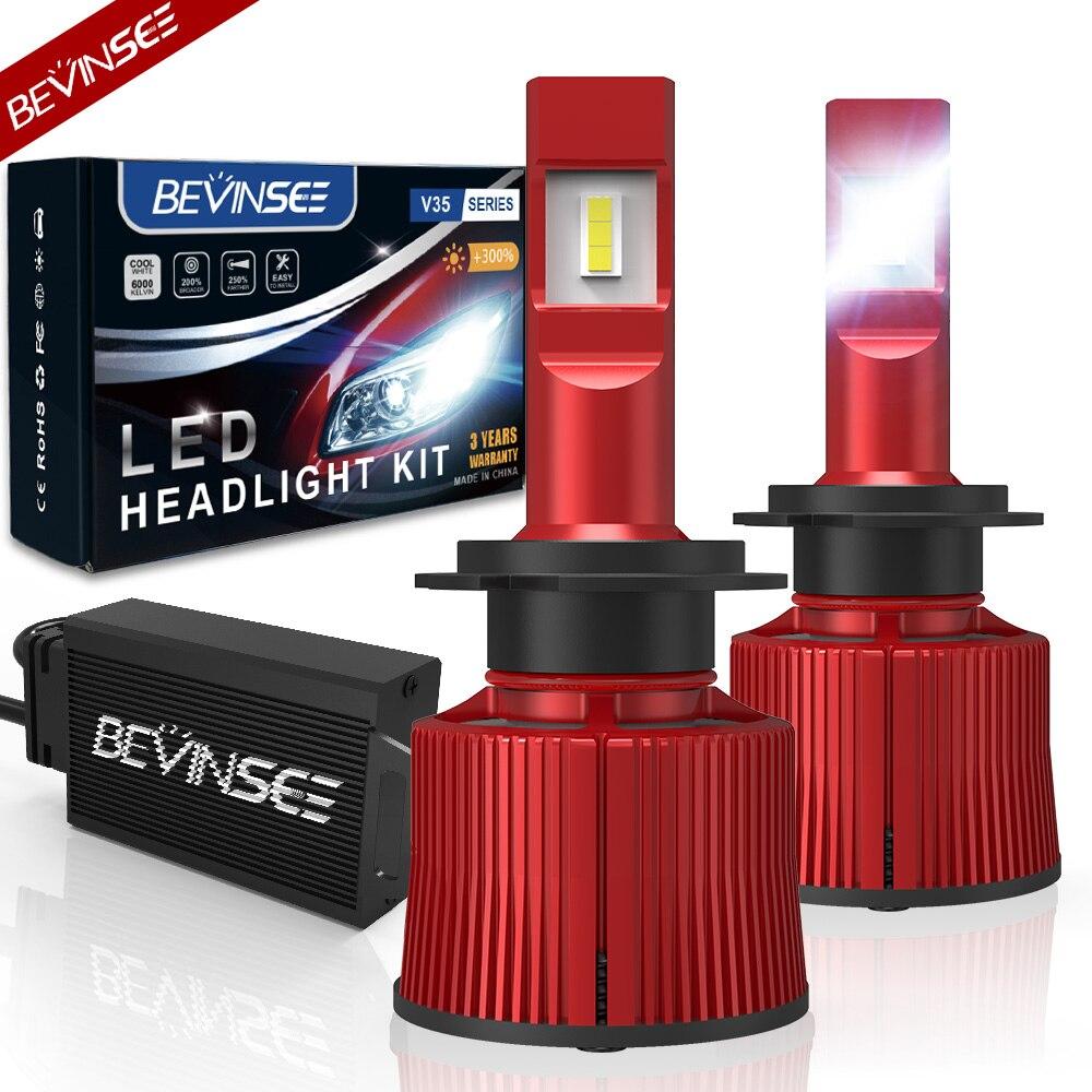 Bevinsee V35 100W 15000LM H7 светодиодный головной светильник s ВК охлаждения Tech 9005 9006 9012 H4 светодиодный лампы CSP 6000 К H8/H9/H11 светодиодных ламп автомобиля ...