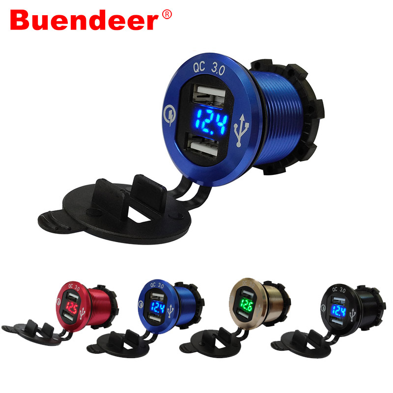 Cigarette-Lighter Car-Socket Motorcycle Dual-Usb Quick-Charge LED Qc-3.0 Buenbeer Aluminium