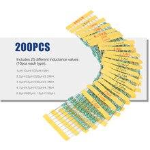 Kit d'assortiment d'inducteurs, anneaux chromatiques DIP, 200 pièces, φ 0510, tolérance ± 10% puissance 1W 20 inductances