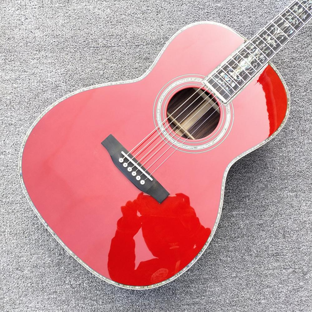 2020 New ,00045 model,wine red acoustic guitar for lady 100% all real abalone acoustic electric guitar free shipping image