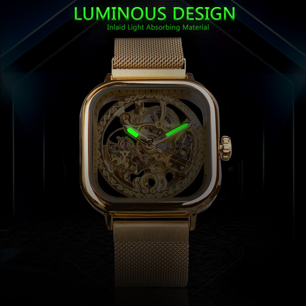 H79934cb2c6074ec8b191a1ffa0c7a102S Forsining Men Mechanical Watches Automatic Self-Wind Golden Transparent Fashion Mesh Steel Wristwatch Skeleton Man Male Hot Hour