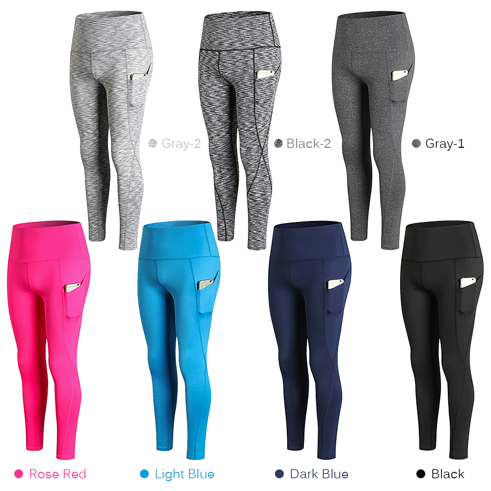 Woman High Waist Yoga Pants Quick-dry Sports Pants Yoga Leggings Workout Pants with Pocket Light Blue XXL Running pants 12
