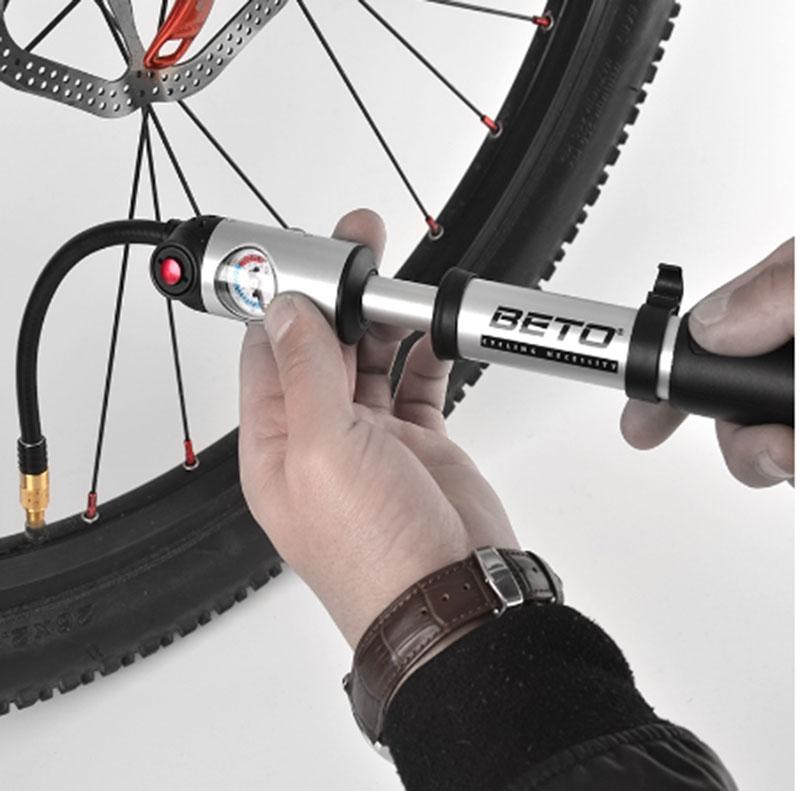 BETO Bicycle Pumps Fork Tire Shock 300psi Gauge Mini Hand Pump For Bicycle Schrader Presta Adapter Hose Bike Pump High Quality in Bicycle Pumps from Sports Entertainment