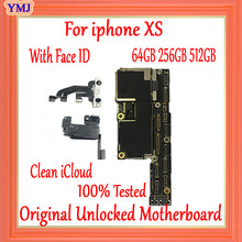 Placa lógica limpa do icloud para a placa-mãe do iphone xs com sistema do ios, para o iphone xs 64 gb 256 gb 512 gb, com/nenhum mainboard da identificação da cara(China)