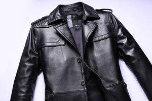 Image 4 - חדש באיכות גבוהה אופנה סופר גדול גברים אמיתי עור מעיל מעיל רופף חליפת צווארון סתיו חורף מקרית Plsu גודל L 8XL 9XL