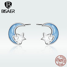 BISAER Authentic 925 Sterling Silver Moon & Star Small Stud Earrings for Women Jewelry Shape GXE792