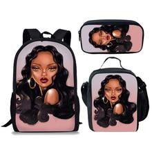NOISYDESIGNS Kids School Bags for Black Girl Magic African Women Print Bag Children 3pcs/set Primary Satchel Students
