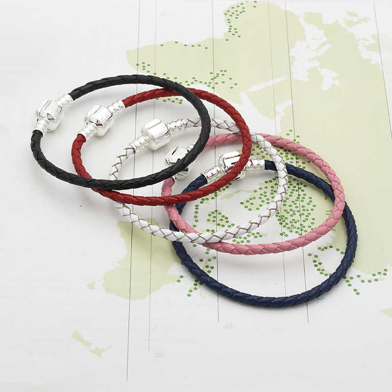 Mingshang wholesale basic chain DIY bracelet  Genuine leather  bracelet  single five colors have plus size