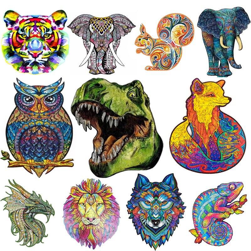 2021 diy artesanato animal quebra-cabeça de madeira em forma de animal decoração de madeira enigma dificuldade inferno para adultos crianças jogo desafiador