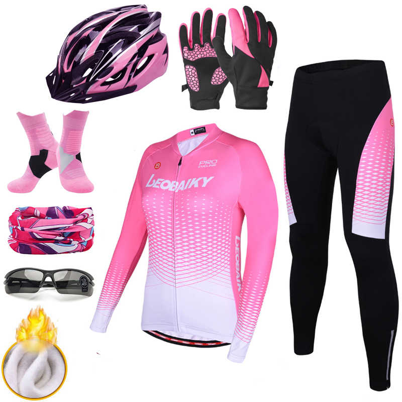 LEOBAIKY Pro Team Cycling Jersey Set Long Sleeve Winter Thermal Fleece Bicycle Clothes Women Bike Clothing Ladies Cycle Wear