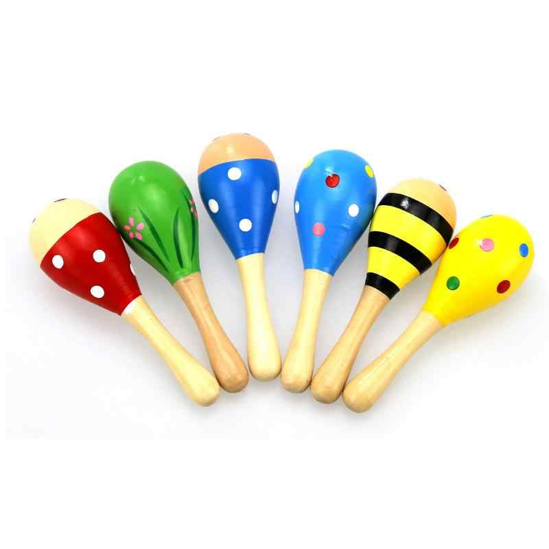 Cartoon Mini Infant Baby Rassel Spielzeug Helle Farbe Holz Maraca Holz Rattle Musical Party Baby Shaker Spielzeug Pädagogisches Spielzeug