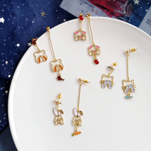 Creative asymmetric bunny pig panda animal ear studs summer earrings fashion statement swing for women