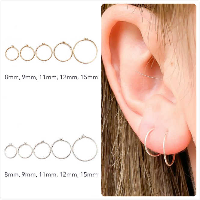 925 Sterling Silver Earrings For Women/Men Small Hoop Earrings Ear Bone aretes Tiny Ear Piercing Ring Girl gold ear hoops R5