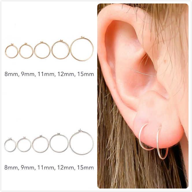 925 เงินสเตอร์ลิงต่างหูผู้หญิง/ผู้ชายขนาดเล็ก Hoop ต่างหูหู aretes Tiny แหวนเจาะหูสาว GOLD หู R5