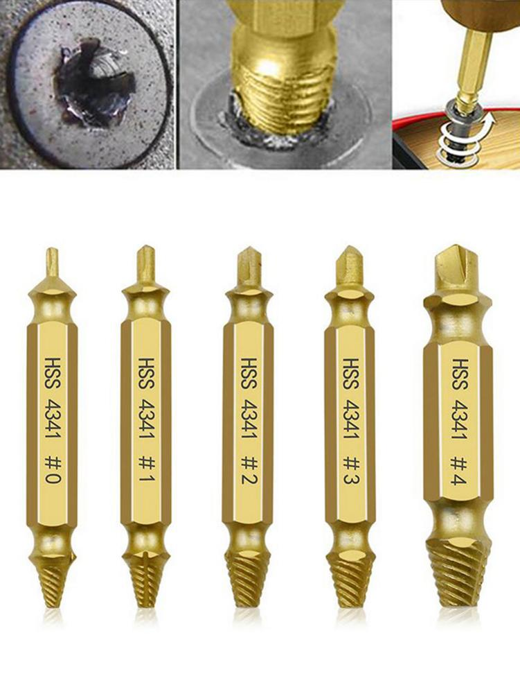5pcs Material Damaged Screw Extractor Drill Bits Guide Set Broken Speed Out Easy Out Bolt Stud Stripped Screw Remover Tool