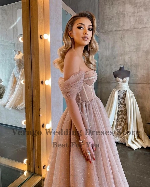 Verngo Dusty Pink Dotted Tulle Evening Party Dresses Off the Shoulder Corset Short Prom Dress Tea Length Midi Formal Wear Gown 4