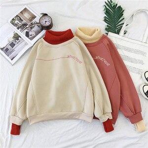 Image 3 - Hoodies ผู้หญิงคอเต่า Patchwork หนาฤดูหนาว Outwear Hoodie เกาหลีใหม่ Streetwear สตรี Casual Pullover แขนยาว