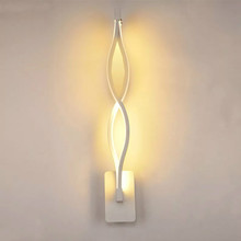 Modern Minimalist LED Wall Sconce Lamps Living Room Bedroom Bedside Black White Lamp Aisle Lighting Decoration 16W AC90-260V