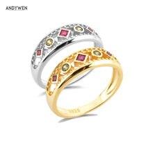 ANDYWEN – bague en argent Sterling 925 pour femmes, grand Zircon épais, Rock Punk, à la mode, bijoux ronds de mariage, 2021