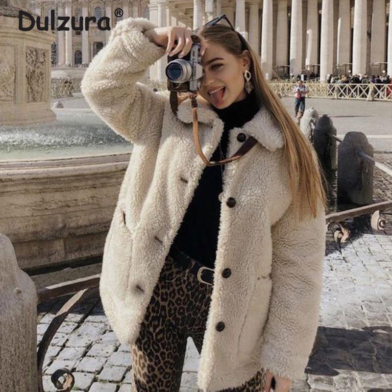 2019 Winter Thicken Warm Teddy Fur Jacket Coat Women Casual Fashion Lamb Faux Fur Overcoat Fluffy Cozy Loose Outerwear Female