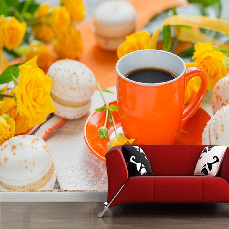 Papier peint 3D personnalisé, café Roses tasse Macaron peintures murales pour salon cuisine fond décoratif papier peint étanche