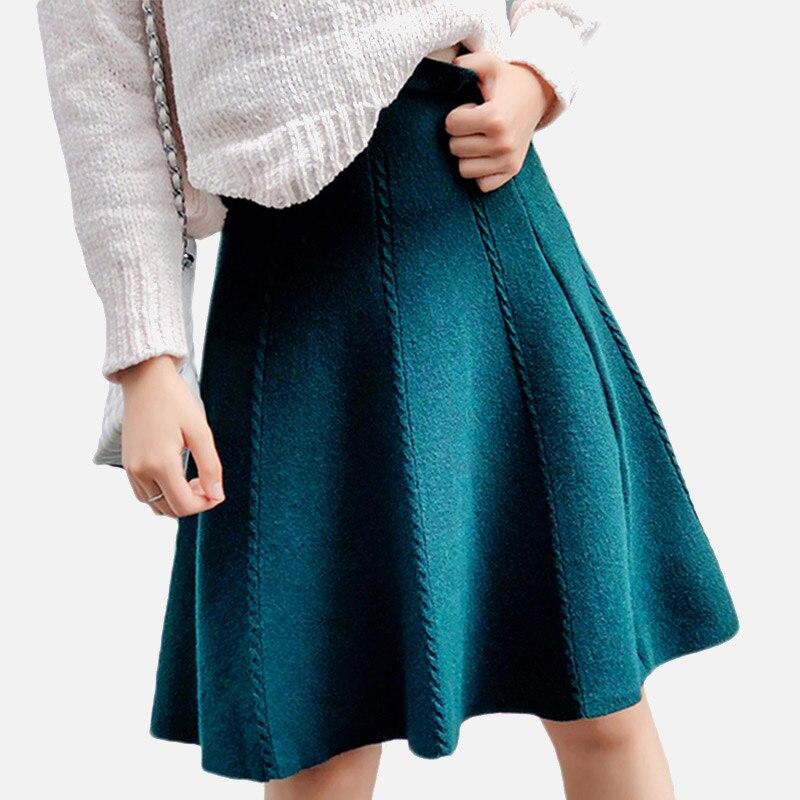 Осенняя эластичная трикотажная Женская юбка с высокой талией, однотонная зеленая трапециевидная юбка для женщин, плиссированная уличная ю...