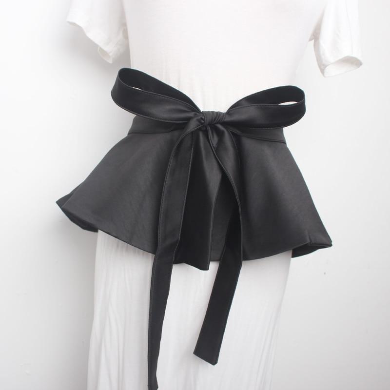 2020 New Design High Fashion Trendy Wide Belts For Women Solid Black Skirt Wide Belt Lacing Waistband Female Hot Sale Tide ZK985