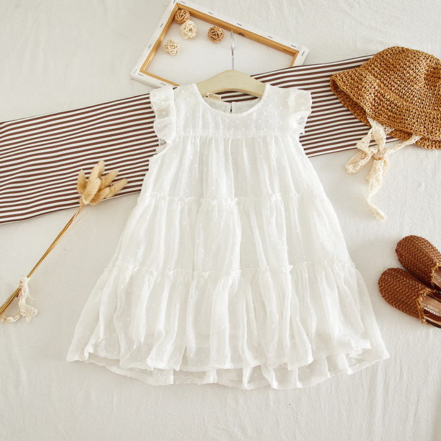 Baby Girls Dresses - Embroidered Dots