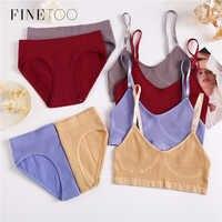 FINETOO-Conjunto de sujetador y braguitas para mujer, ropa interior sin costuras, Bralette elástico, Top corto, conjunto de lencería para Fitness
