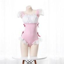 Costume Bikini Lingerie-Set Nightdress Maid Hot Underwear Open-Crotch Hot-Zipper Cosplay Kawaii