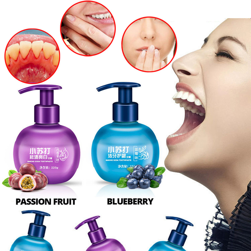 220g Magical Soda Passion Fruit Blueberry Toothpaste Stain Removal Whitening Cleaning  Brighten  Fight Bleeding Gums Toothpaste