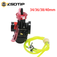 ZSDTRP Universal Quad Vent Carb PWK 34 36 38 40mm AIR ATTAQUANT+Oil Switch+Fuel Pipe Hose+Oil Filters+4 Clips For TRX250R CR250