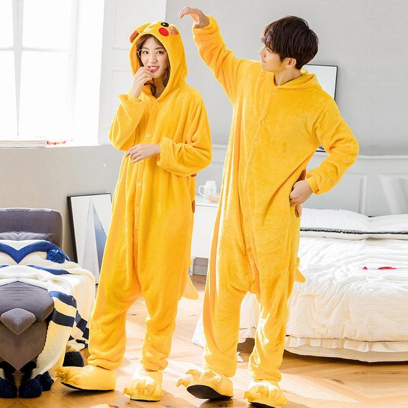 Pikachu Pajamas Kigurumi Flannel Adult Anime Pajamas Cartoon Animal Lovely Cosplay Winter Pajamas Suit Costume