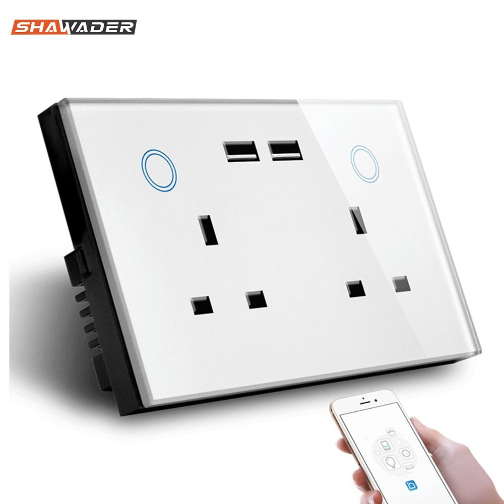 Prise murale USB intelligente WIFI prise de courant électrique britannique 15A interrupteur tactile sans fil Homekit Charge travail avec Alexa Google Home