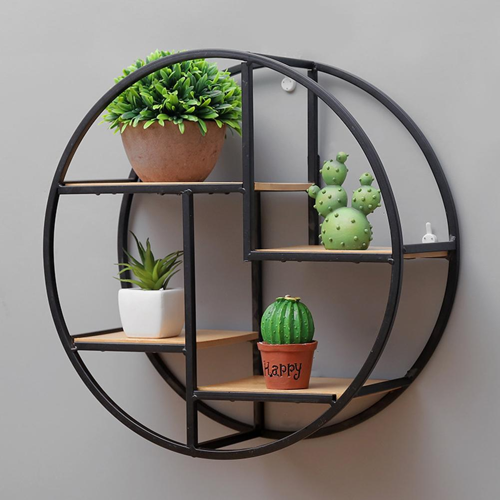 Creative Modern Home Round Wood Wall Mount Flower Planter Book Storage Shelf Rack Potted Holder Stand Room Background Wall Decor