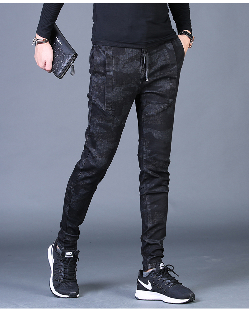 Free shipping new fashion men's male casual Original camouflage jeans men plus velvet autumn stitching pants Slim Korean C3129 79