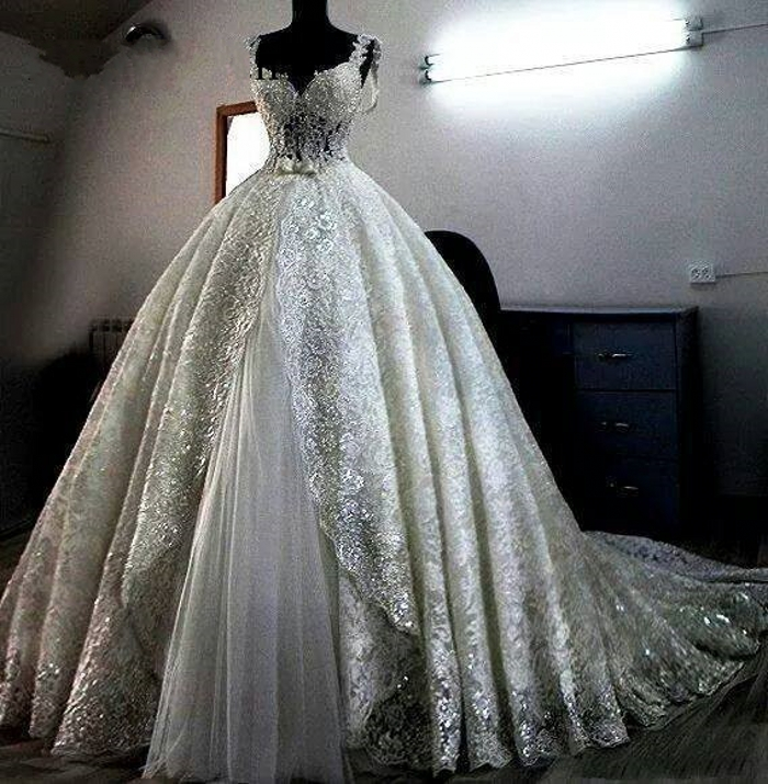 Vestido De Novia Sparkling Lace Wedding Dresses Custom Made Ball Gown Heavily Ball Gown For Bridal Saudi Arabia Wedding Gown Buy At The Price Of 169 15 In Aliexpress Com Imall Com
