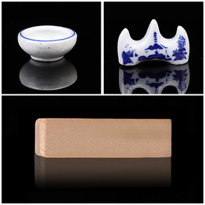 Image 5 - 10PCS Chinese Traditional Calligraphy Set with Writing Brush Washer Holder Inkstone Ink Stick Seal Inkpad for Beginners Lovers