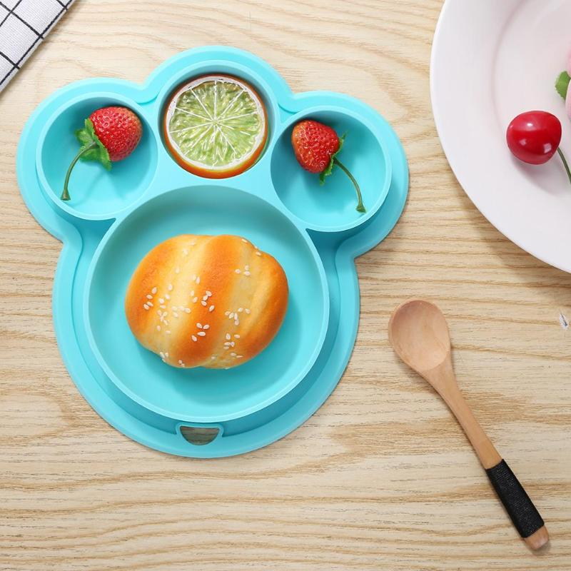 Baby Feeding Bowl Kids Silicone Dinner Plate Suction Cup Hanging Hole Lid Baby Tableware Suction BPA Free Feeding Baby Dish